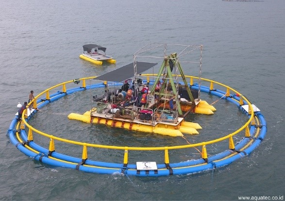 Fig. 2: Aquatec® offshore submersible cage and compression chamber mounted on catamaran in Situbondo, West Java.